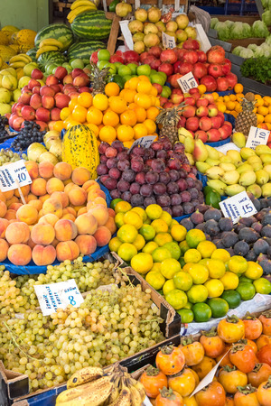 edibles: Great variety of fruits for sale at a market Stock Photo