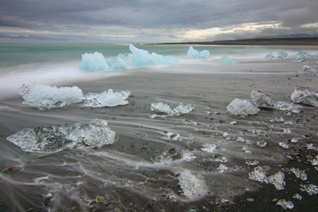 glaciar: The beach at Jokulsarlon lagoon in Iceland glaciar Stock Photo