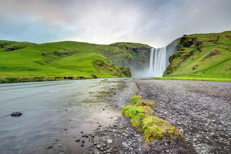 skogafoss waterfall: The famous Skogafoss waterfall in southern Iceland