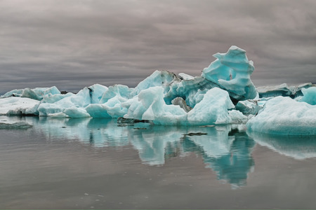 glaciar: Blue iceberg at the Jokulsarlon lagoon in Iceland glaciar Stock Photo