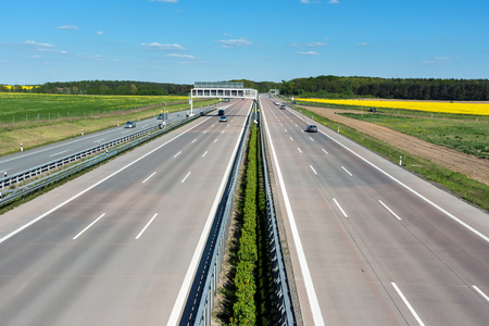 express lane: Germany motorway on a sunny day with little traffic Stock Photo