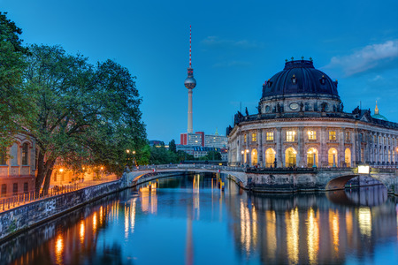 bode: The Bode Museum and the television tower in Berlin at dawn Editorial