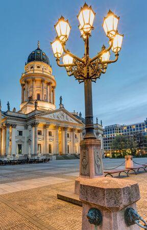 streetlights: The Gendarmenmarkt in Berlin at dawn with streetlights