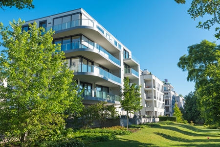 Modern Apartment Houses With Garden Lakes In Berlin, Germany Stock ...