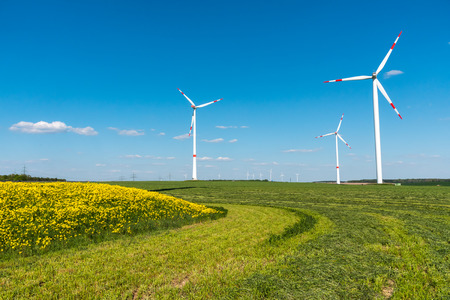 nonpolluting: Wind Engines in the fields seen in rural Germany