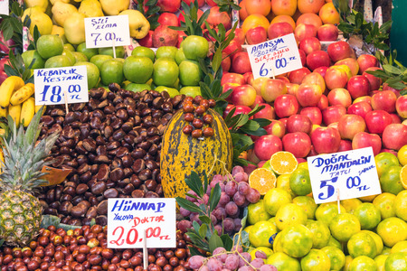 edibles: Fresh fruits for sale at a market in Istanbul, Turkey