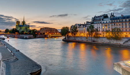 ile de la cite: Beautiful evening in Paris with the Notre Dame Cathedral and the Ile de la Cite in the back