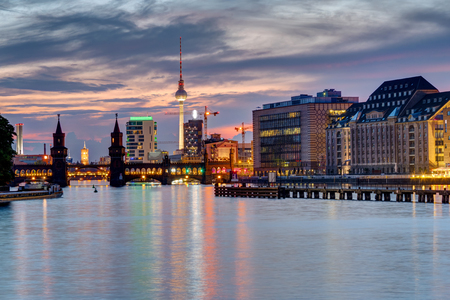 spree: Evening at the river Spree in Berlin with the Television Tower in the back Stock Photo