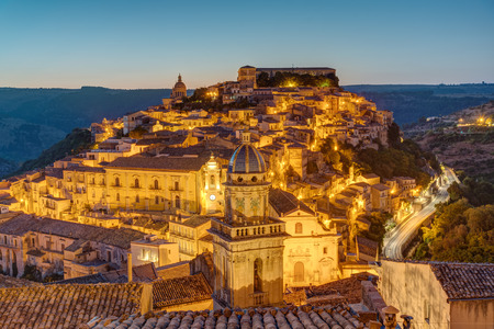 ragusa: The old town of Ragusa Ibla in Sicily before sunrise
