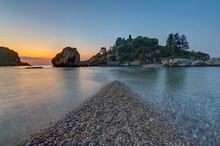 bella: The small Isola Bella in Taormina, Sicily, just before sunrise