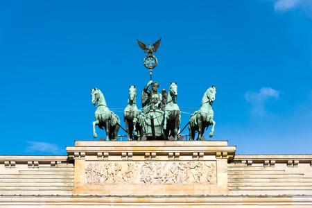 quadriga: Detail of the Quadriga on top of the Brandenburg Gate in Berlin Stock Photo