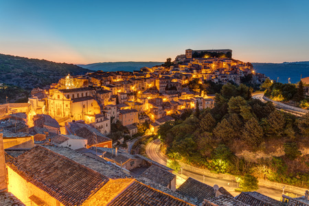 ragusa: The old town of Ragusa Ibla in Sicily at dusk