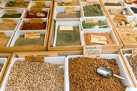 Seasoning, Pistachio and corn for sale on a market in Syracuse, Sicily