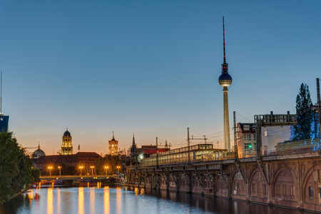 Twilight at the river Spree in Berlin with the TV Tower Stock Photo