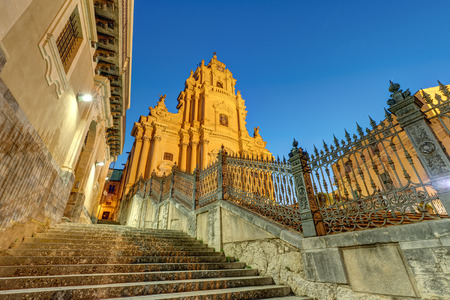ragusa: The cathedral of Ragusa Ibla in Sicily at night