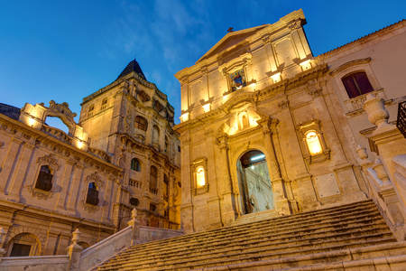 Part of the old baroque town of Noto in Sicily at night Imagens