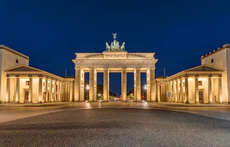 Berlin most famous landmark, the Brandenburg Gate, at night
