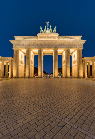 colonnade: The famous Brandenburg Gate in Berlin at night
