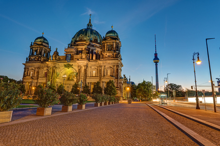 The Berlin Cathedral and the television tower before sunrise