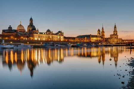 dresden: The skyline of Dresden and the river Elbe at sunset