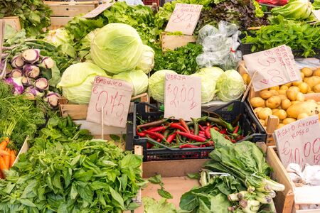 vegtables: Salad and vegtables for sale at a market in Palermo, Sicily