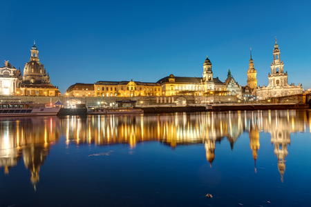 The center of Dresden with the river Elbe at dawn Editorial
