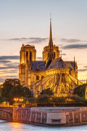The Cathedral of Notre Dame in Paris at sunset