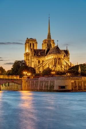 ile de la cite: Sunset at the Cathedral of Notre Dame in Paris, France Stock Photo