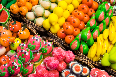 Sweets at the Boqueria market in Barcelona, ??Spain Stock Photo