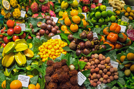 Tropical fruits at the Boqueria market in Barcelona, ??Spain