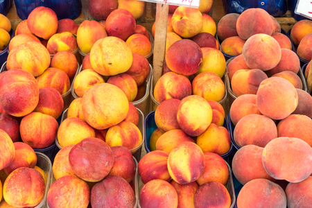 Peaches and nectarines for sale at a market