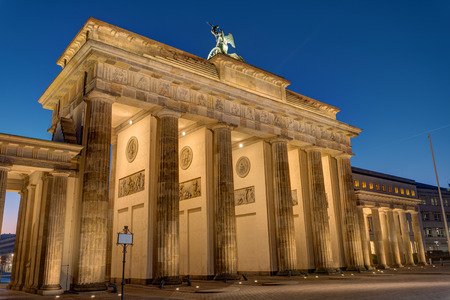 The backside of the Brandenburg Gate in Berlin at night