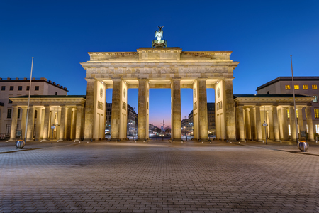 The back of the Brandenburg Gate in Berlin at night Stock Photo