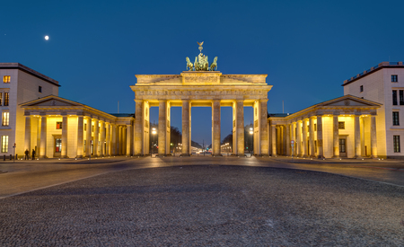 Panorama of the famous Brandenburg Gate in Berlin at night