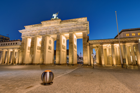 The famous Brandenburg gate in Berlin at night Stock Photo