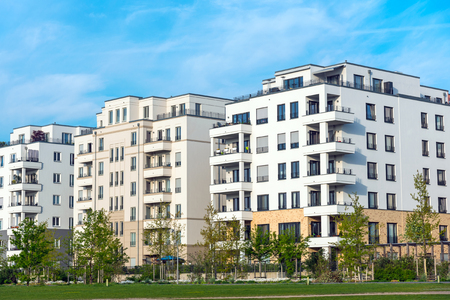 property berlin: Development area with new multi-family houses seen in Berlin, Germany Stock Photo
