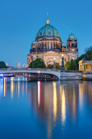 europeans: The Berlin Cathedral and the river Spree at night