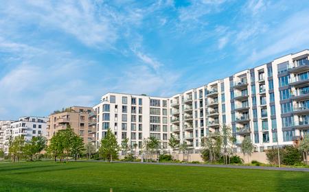 Modern housing area seen in Berlin, Germany