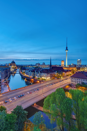 The historic center of Berlin with the famous Television Tower after sunset