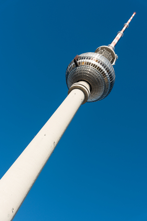 The Television Tower in Berlin in front of a blue sky