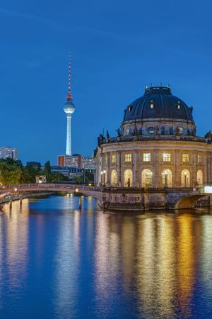 bode: Television Tower and Bode Museum in Berlin at dusk
