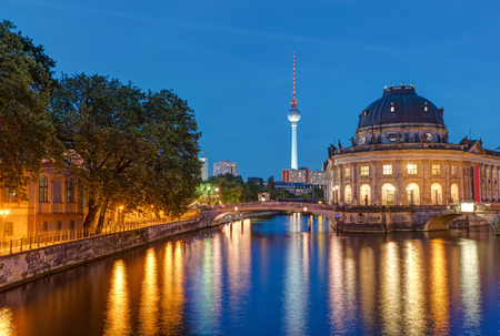 bode: Bode Museum and Television Tower in Berlin at dusk