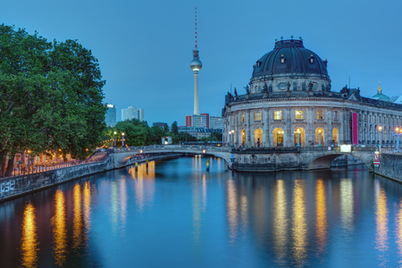 bode: The Bode Museum and the Television Tower in Berlin at dusk Editorial