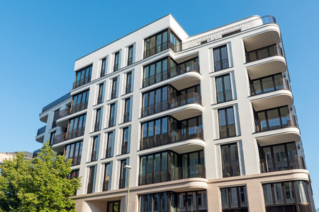 Modern luxury apartment house lakes in Berlin, Germany Stock Photo