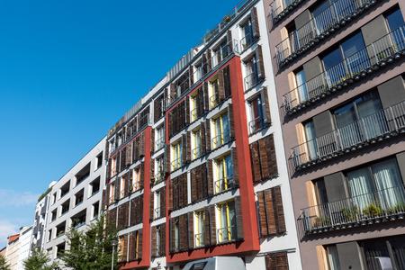 Row of modern apartment buildings seen in Berlin, Germany