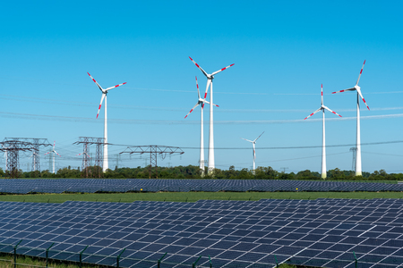 Renewable energy and power gridlines in Germany Archivio Fotografico
