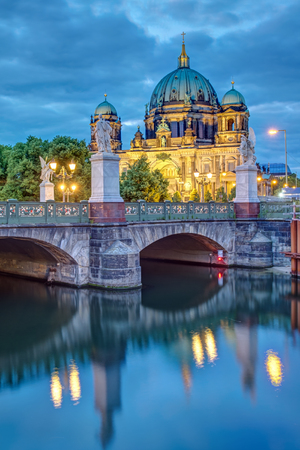 reviews: The castle bridge and the cathedral in Berlin at dusk