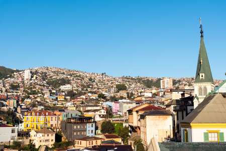 View over the colorful houses of Valparaiso in Chile Stock Photo