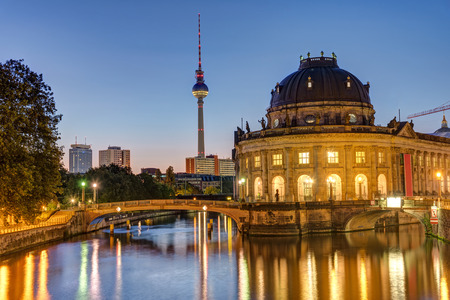 bode: Bode Museum, Television Tower and Spree river in Berlin before sunrise