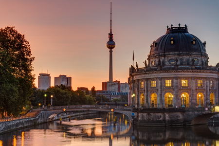bode: Sunrise at the Bode Museum in Berlin with the Television Tower in the back Stock Photo
